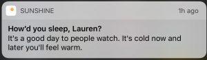 Sunshine: How did you sleep, Lauren?